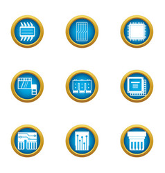 Soldering of chip icons set flat style vector