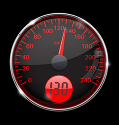 Speedometer round black and red gauge with chrome vector