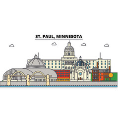 St paul minnesota city skyline architecture vector