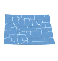State map of North Dakota by counties vector