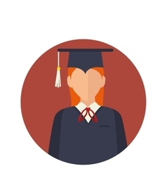 student with graduation uniform vector image