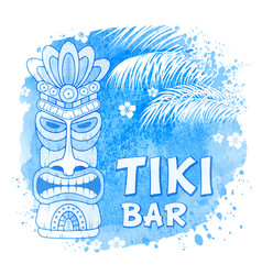 tiki mask on watercolor background vector image