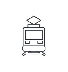 Train tram rails transport thin line icon vector