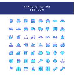 Transportation filled outline icon set vector