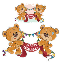 Two brown teddy bears holding in their paws vector
