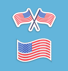 usa flags patriotic symbol set vector image