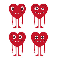 Valentine s set of heart smiles vector