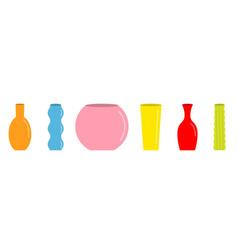 vase set cute colorful icon line ceramic pottery vector image