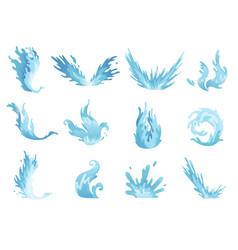 Water splash blue water waves set wavy liquid vector