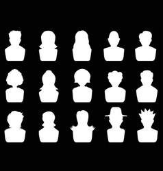 white avatar icons set vector image