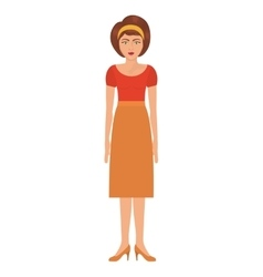 Woman with eighties style and high waisted skirt vector