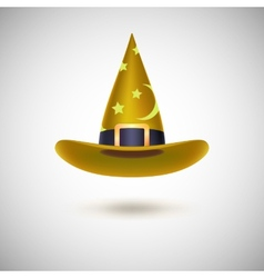 Yellow witch hat for Halloween vector