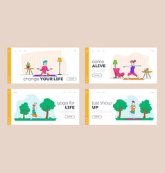 yoga exercising healthy lifestyle landing page vector image