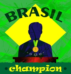 Abstract Brazil champion design with a man silhoue vector image vector image