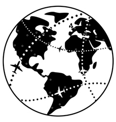 airplane flight paths over earth globe vector image vector image