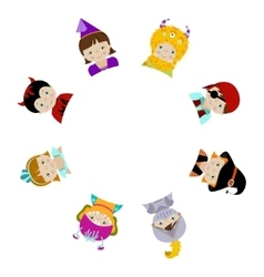 Cute kids in fancy costumes behind circle blank vector image