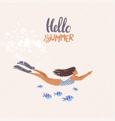 diving girl summer vector image