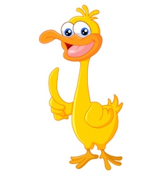 Duck cartoon thumb up vector image