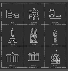 europe landmarks in outline style vector image vector image