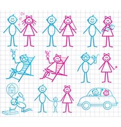 set of funny cartoon people vector image vector image