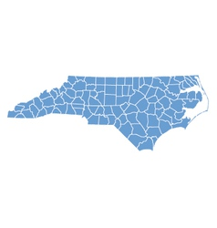 State map of North Carolina by counties vector image