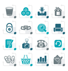 stylized website and internet icons vector image vector image