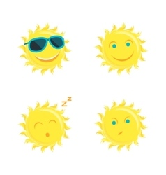 Sun Faces Set Different Emotions vector image