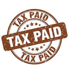 tax paid brown grunge round vintage rubber stamp vector image