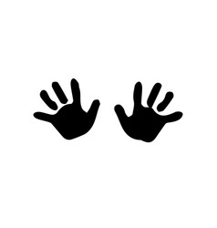 black silhouette of baby hand prints isolated on vector image