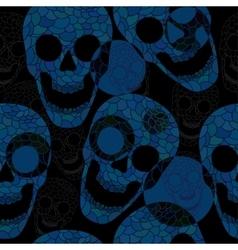 Colorful skulls on black background - seamless vector image