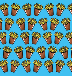Delicious fries french fast food meal background vector