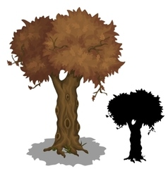 Drying old tree and its black silhouette vector image
