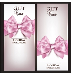 Gorgeous gift cards with pink bows and copy space vector image