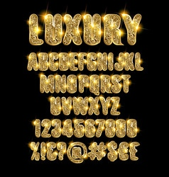 luxury gold alphabet vector image