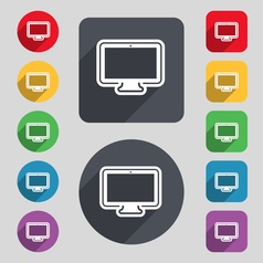 monitor icon sign A set of 12 colored buttons and vector image vector image