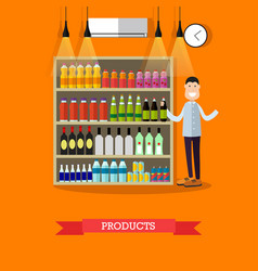 shelves with products in flat vector image