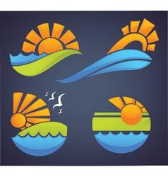 symbols of sea sun and summer vector image vector image