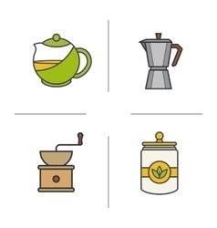 Tea and coffee color icons set vector image vector image