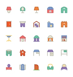 Building and furniture icons 13 vector
