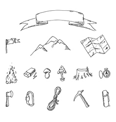 Camping adventure set doodle vector image vector image