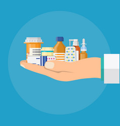 different medical pills and bottles in hand vector image vector image