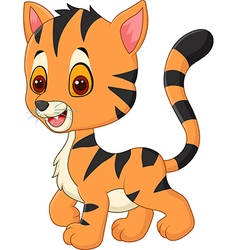 Happy baby tiger posing isolated vector image