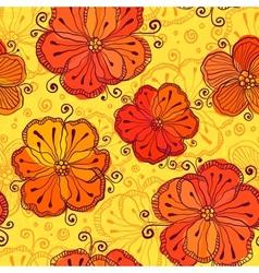 Orange doodle flowers seamless pattern vector image vector image