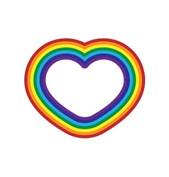 Rainbow icon heart flat design isolated vector image vector image
