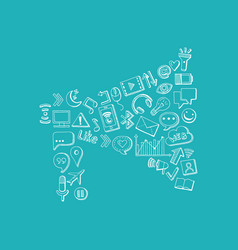 social media hand drawn elements in form of vector image
