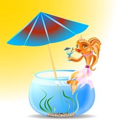 goldfish on holiday vector image