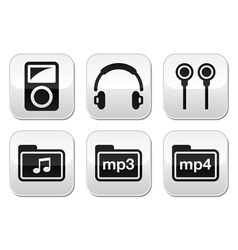 Mp3 player button set vector image vector image