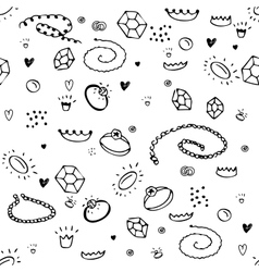 Simple seamless pattern with jewelry Black and vector image