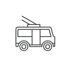 trolleybus passenger transport thin line icon vector image