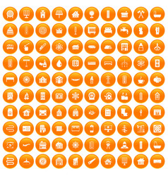100 heating icons set orange vector